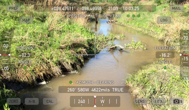 Texas stream viewed through surveying viewer